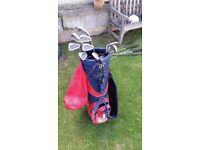 Set of Golf Irons and Bag, plus miscellaneous woods