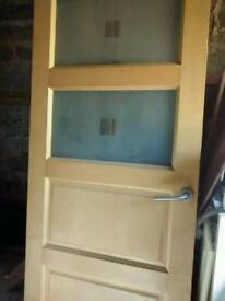 Maple door with frosted glass