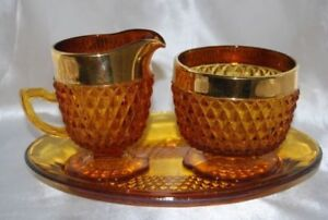 Vintage Amber Sugar-Creamer Set With Glass Tray Hobnail Pattern