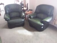 Green leather sofa and 2 matching chairs
