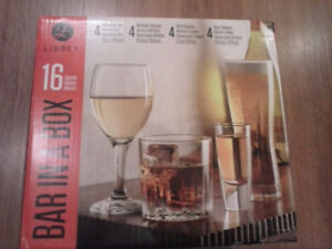 Brand new( never opened) Bar in a Box Glass Ware 1 set