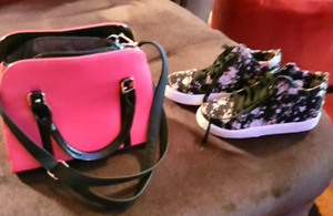 Brand new purse and running shoes.