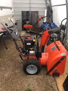 """27"""" wide snow blower, heated hand grips, electric start"""