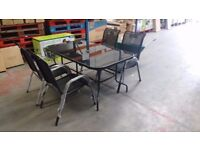 Garden Furniture - Black Glass Table & 4 Chairs