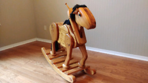 Solid wooden rocking horse