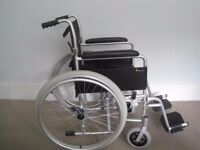 • Super lightweight Aluminium frame wheelchair with metallic silver finish
