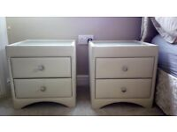 Cream leather bedside tables