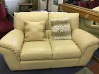 Chateau D'ax Cream leather 2 Seater Couch