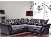 new large farrow shannon corner sofa in faux leather and fabric black/grey or beige