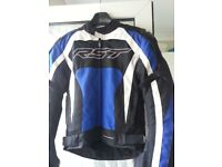 RST Pro Series Mens Textile Jacket Blue M with shoulder, elbow and back protector Detachable liner