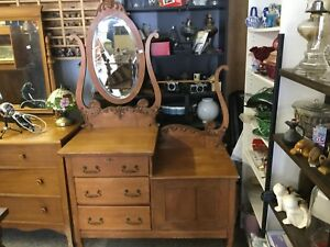 Beautiful antique dresser w/ beveled mirror and towel rack