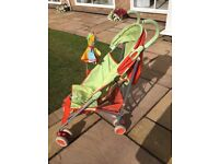 Mothercare pushchair with parasol, liner and waterproofs.