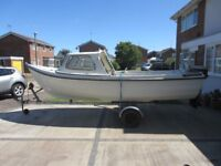 Orkney Strikeliner 16+ with Cuddy, Johnson 25hp 2 stroke outboard engine, Spare engine