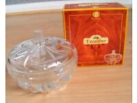 New Box Beautiful Kitchenware Decorative Condiment Food Glass Sugar Bowl & Cover Dishwasher Safe
