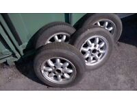 1990s Mini Cooper Alloy Rims 4.5 x 12 x 35 and used tires