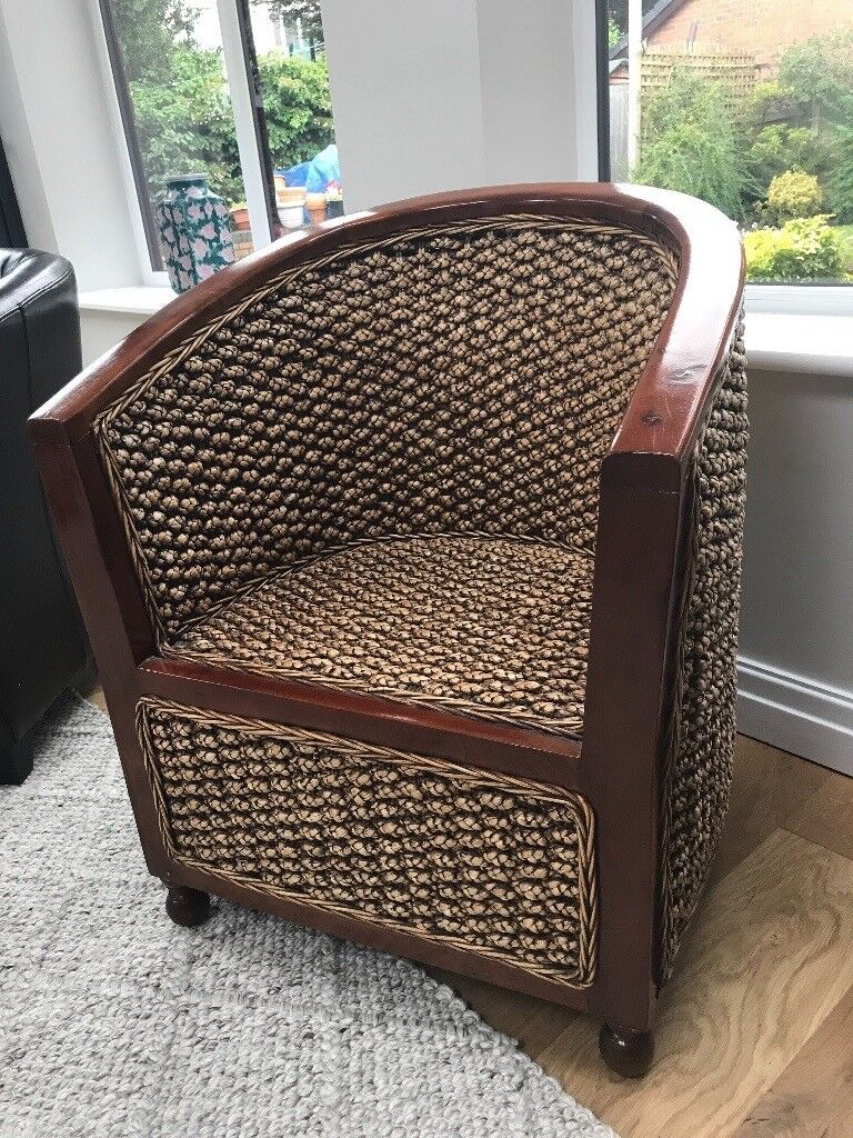 Attractive wooden framed tub chair to suit any garden room or ...