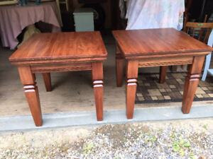 Refinished pair of large end tables
