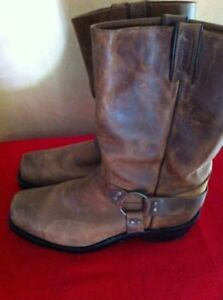 Brown Leather Motorcycle Boots Size 11 - Canadian made by Boulet