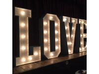 LOVE light up LED or floral - All letters available to create your bespoke prop Wedding bride flower