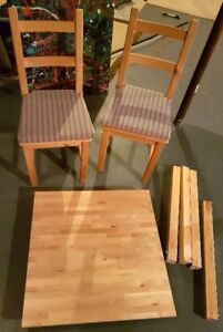 WOODEN TABLE and TWO CHAIRS