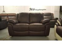NEW ScS LEO BROWN LEATHER 2 SEATER SOFA **CAN DELIVER**