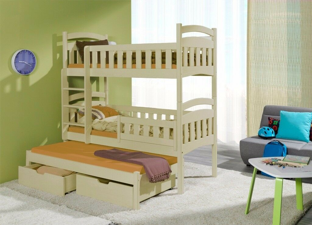 BUNK BED DOMINIC 3, SOLID TRIPLE BUNK BED WITH MATTRESSES, CHILDREN BEDROOM, BED FOR 3 KIDS