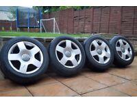 """16"""" Audi A4 A6 VW Golf S-Line Sport Alloys Wheels & Tyres* 205/55/16* 5x112 #BARGAN"""