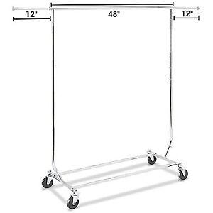 Commercial strength rolling clothing rack collapsible brand new