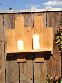 Large wooden wall sconce