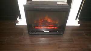 Electric fireplace with Black & white surround