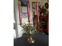 Vintage Brass Candelabra 3 sconce.