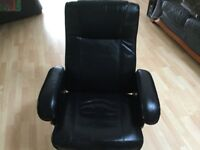 BLACK, wipe clean, reclining and swivel chair.Great for conservatory, gamers etc.Slight wear to arm.