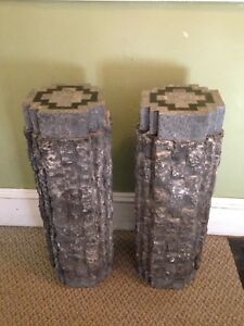 "2 Heavy Marble and Lava Stone Pillar Stands, 10"" x 10"" x 30"""