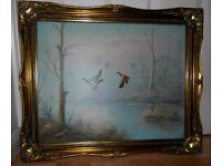 Classical Oil Painting on Canvas with Golden Frame
