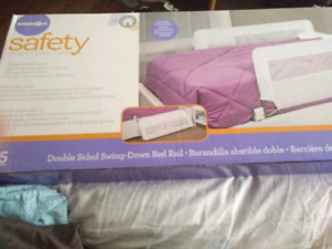 Safety first double sided swing-down bed rail