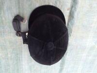 Riding Helmet with Black Detachable Velvet Cover - Size 2 (56-57cm)