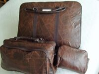 New 3 Piece Patch Leather Travel Bag Set - Suitcase, Holdall and Wash Bag/Vanity Case