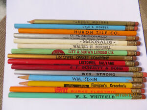 15 Assorted Collectible Advertising Pencils from Mid-Western Ont
