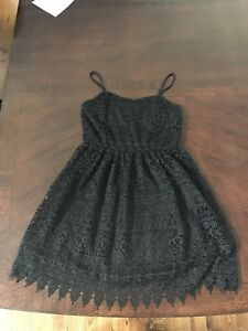 Spaghetti Strap Black Lace Dress
