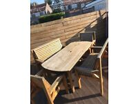 Outdoor Wood Dining Set 6/8 seater