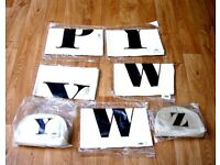 HOLIDAY / TRAVEL 5 TOTE BAGS & 2 MAKEUP BAGS CANVAS ALPHABET BRANDED BRAND NEW JOB LOT