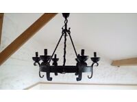 Antique Wrought Iron Chandelier. Circular with six lamp holders.
