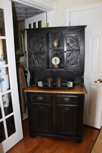 Solid Maple refinished china cabinet