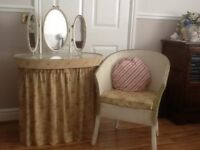 Vintage glass top dressing table and chair