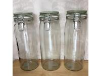 3 x tall glass storage preserving jars with sealed lids 2litre