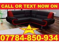 BRAND NEW KAEROL CORNER SOFA BLACK/RED + DELIVERY CV