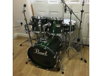 Fully Refurbished Pearl Session Drum Kit in British Racing Green Lacquer ~Free Local Delivery~