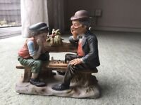 Man and Boy chess players figurine