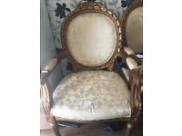 Victorian style chair, fabric chair, beige