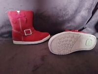 Girls red clark boots size 6G